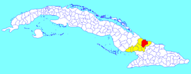 Puerto Padre municipality (red) within  Las Tunas Province (yellow) and Cuba