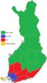 Puolueiden kannatus vaalipiireittäin eduskuntavaaleissa 2003.png