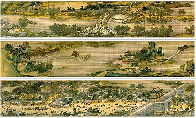 The famous painting Along the River During the Qingming Festival is believed by some to portray life in Kaifeng on Qingming Festival. Several versions exist - the above is an 18th-century recreation - of an original attributed to the 12th-century artist Zhang Zeduan. QingmingshangHetu.jpg