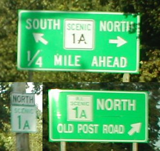 Rhode Island Route 1A - SCENIC 1A signs; the 'R.I. SCENIC 1A' is unique to this sign