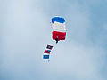 ROCA Dragon Team Crew with Military Flags of the Republic of China Descending over Military Academy Ground 20140531a.jpg