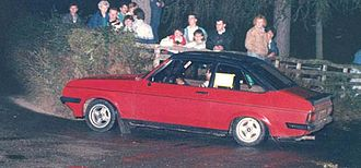 Road rally - Ford Escort RS2000 on 1989 Briedden road rally, mid-Wales