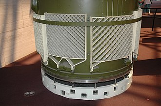 Grid fin - Grid fins stowed against the base of an SS-20 ballistic missile