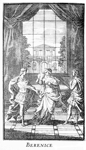 Berenice (play) - Frontispiece depicting Act V, scene 7, published in Paris in 1676