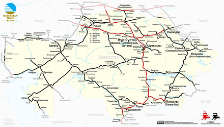 Map of Kazakhstan railway network Railway Map of Kazakhstan (kk).png