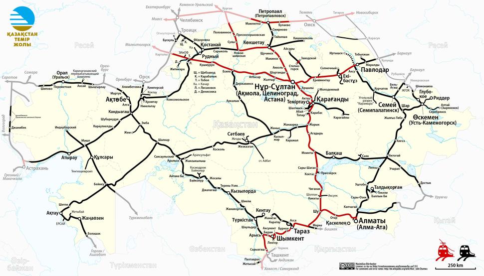 Railway Map of Kazakhstan (kk)