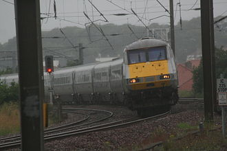 Advanced Passenger Train - Superelevation was applied to portions of the BR network, although the angle was limited. Here, a Class 91, based on APT technology, rounds a canted turn on the East Coast Main Line.