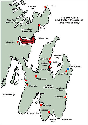 Random Island - Random Island (in red), surrounded by Bonavista Peninsula and Trinity Bay.  St. John's, the provincial capital, is to the southeast.