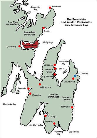 Random Island - Random Island (in red), surrounded by Bonavista Peninsula and Trinity Bay.  St. John's, the provincial capital, is to the southeast.