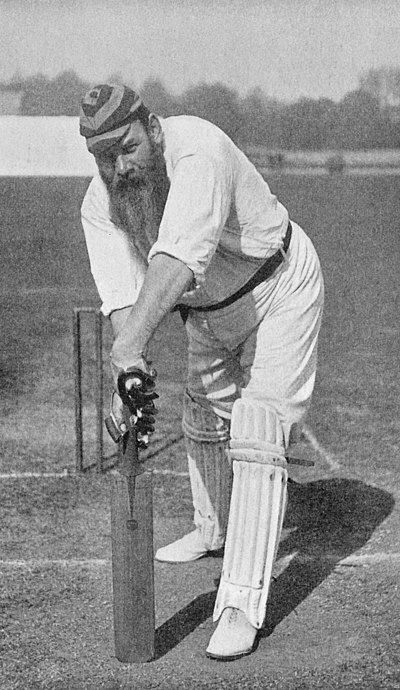 Ranji 1897 page 171 W. G. Grace playing forward defensively.jpg