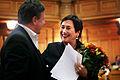 Rannveig Gudmundsdottir, nyvald president i Nordiska radet, gratuleras av Renynoldh Furustrand.jpg