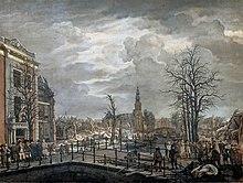 Louis besucht nach einer Explosion den Unglücksort in Leiden (Gemälde von Carel Lodewijk Hansen) (Quelle: Wikimedia)