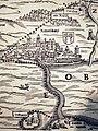 Rapperswil und die Seebrücke auf Jos Murers Karte des Zürcher Herrschaftsgebiets von 1566 (Ausschnitt) - Stadtmuseum Rapperswil - 'Stadt in Sicht - Rapperswil in Bildern' 2013-10-05 16-06-17 (P7700).JPG