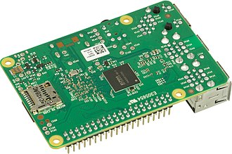 Raspberry Pi - Various operating systems for the Raspberry Pi can be installed on a MicroSD, MiniSD or SD card, depending on the board and available adapters; seen here is the MicroSD slot located on the bottom of a Raspberry Pi 2 board.