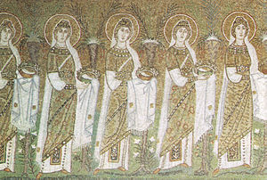 Victoria, Anatolia, and Audax - Victoria and Anatolia are portrayed amongst the mosaic Procession of Virgins in the Basilica of Sant'Apollinare Nuovo, Ravenna.