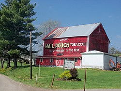 A red Mail Pouch barn on Ohio State Route 93