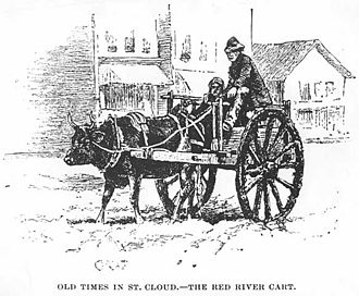 St. Cloud, Minnesota - Red River cart at Saint Cloud, 1887
