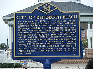 Rehoboth Beach, Delaware - Historical marker displaying brief history of Rehoboth Beach