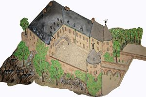 Bilstein Castle (Lennestadt) - Artist's impression of Bilstein Castle before the expansion of 1977 based on as-completed drawings