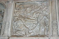 Reliefs of the martyrdom of Saint Eulália - Back choir of the Cathedral of Barcelona - Barcelona 2014 (4).JPG