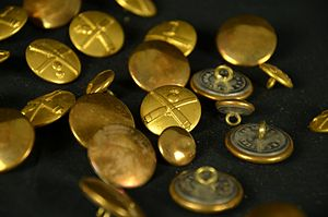 Button - Brass buttons from the uniform of a Danish World War I artillery lieutenant