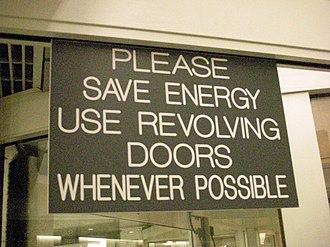 Revolving door - Revolving doors are favored because they can be used as an airlock to minimize a building's heating and air conditioning losses.
