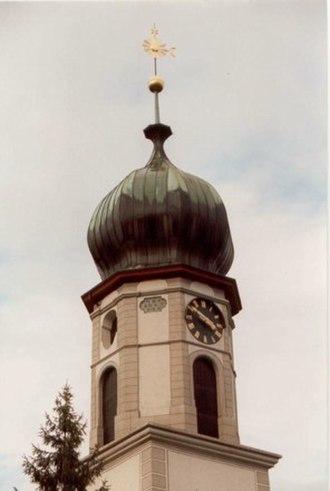 Rheineck - Church tower of the Swiss Reformed Church in Rheineck