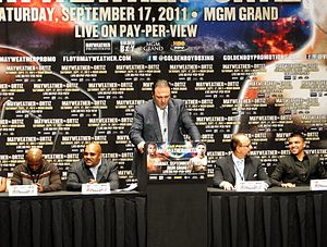 Golden Boy Promotions - Richard Schaefer making a speech at the press conference for the fight between Victor Ortiz and Floyd Mayweather, Jr.