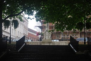 Richmond, London - Richmond War Memorial, partly hidden by foliage
