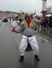 Rijeka Karneval in 2008-Bull with the head mounted stick.JPG