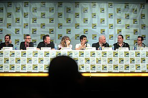 Scorpion (TV series) - Robert Orci, Alex Kurtzman, Robert Patrick, Katharine McPhee, Elyes Gabel, Nick Santora, Walter O'Brien, Nicholas Wootton, actors and producers, San Diego Comic Con 2014