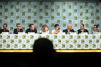 Scorpion (TV series) - Roberto Orci, Alex Kurtzman, Robert Patrick, Katharine McPhee, Elyes Gabel, Nick Santora, Walter O'Brien, and Nicholas Wootton at the San Diego Comic-Con 2014