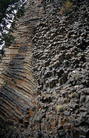 Wells Gray-Clearwater volcanic field - Rock Roses formation on south side of White Horse Bluff