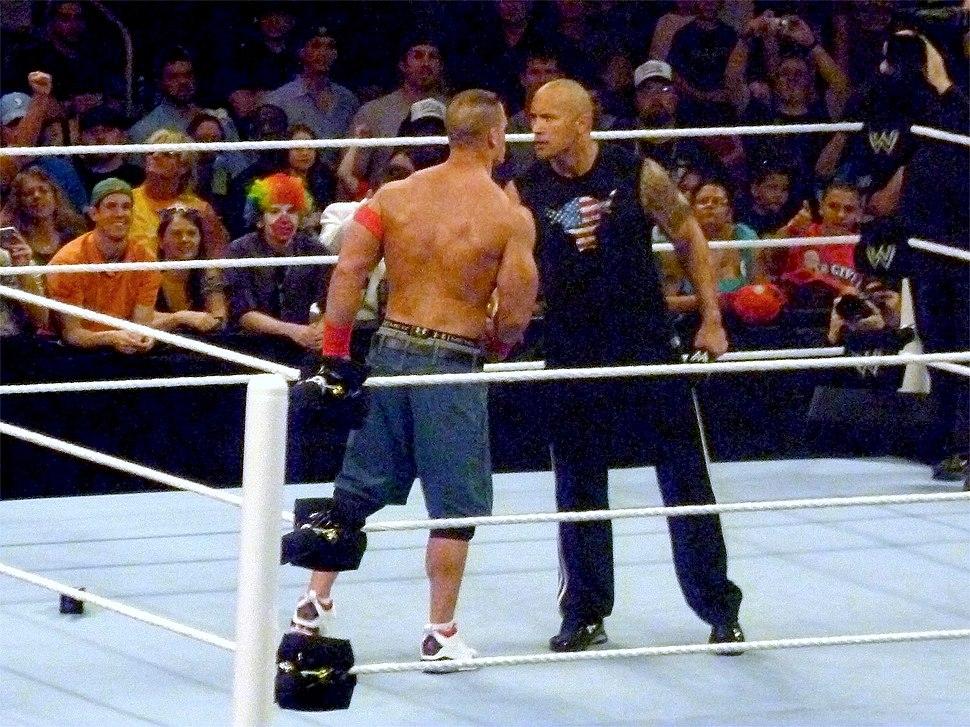 Rock and Cena shake hands