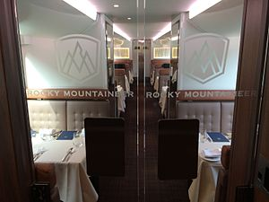 Rocky Mountaineer - Lower dining level on GoldLeaf