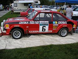 Roger Clark's Cossack sponsored Ford Escort RS1800, winner of the 1976 Lombard RAC Rally, pictured at the 2008 Rally Fest at Chatsworth House 2013-12-07 09-06.jpg