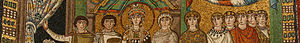 Antonina (wife of Belisarius) - San Vitale basilica, Byzantine mosaic depicting Empress Theodora (6th century) flanked by a chaplain and a court lady believed to be her confidante Antonina, wife of general Belisarius