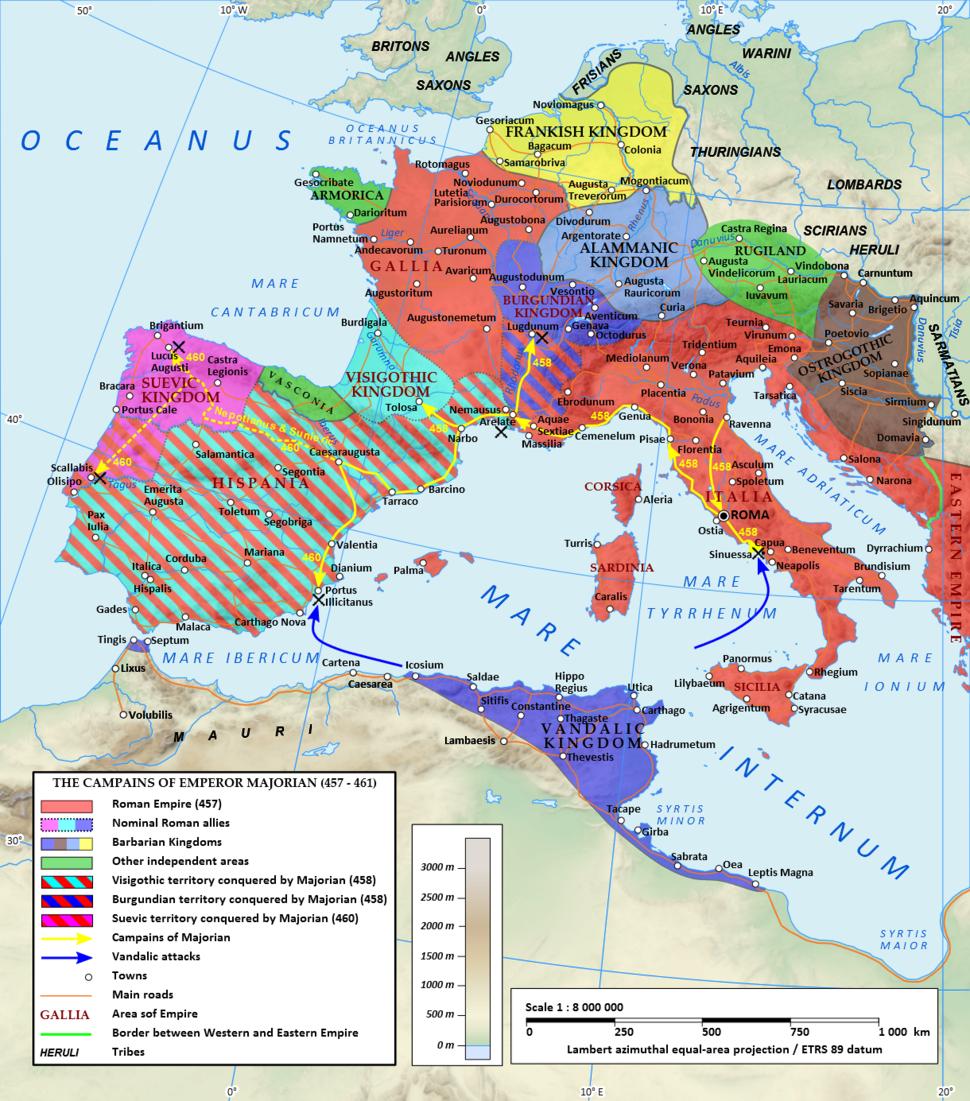 Roman Empire under Majorian (460 CE)