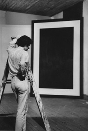 Ronnie Landfield - Ronnie Landfield and Border Painting 8, 1966, photo by Tom Gormley NYC. July 1966