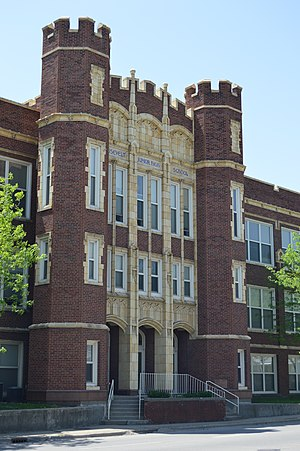 National Register of Historic Places listings in Macon County, Illinois - Image: Roosevelt Junior High School entrance, Decatur