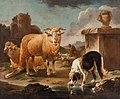Rosa Da Tivoli, Scena bucolica con torre, pecore e cane, cm 146 x 121, in collezione privata.jpg