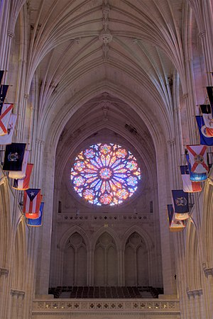 Washington National Cathedral - The west rose window was dedicated in 1977 in the presence of Queen Elizabeth II of the United Kingdom of Great Britain and Northern Ireland (and Supreme Governor of the Church of England) and 39th President Jimmy Carter.