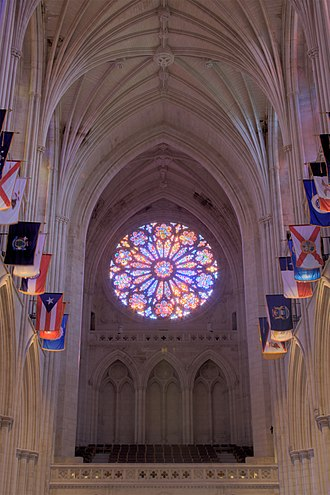 Washington National Cathedral - The west rose window was dedicated in 1977 in the presence of both the 39th President, Jimmy Carter and Queen Elizabeth II of the United Kingdom (and Supreme Governor of the Church of England)