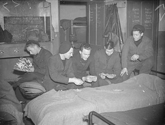 RAF Valley - Royal Air Force 1939-1945 Fighter Command armourers relaxing in their quarters