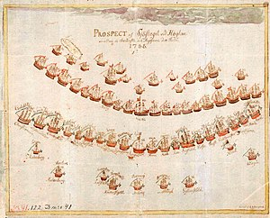 Russo-Swedish War (1788–1790) - Contemporary Swedish drawing of the order of battle at the Battle of Hogland in 1788