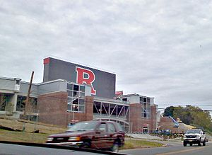 High Point Solutions Stadium - The exterior of the stadium's expansion seen from River Road, under construction on September 26, 2009.