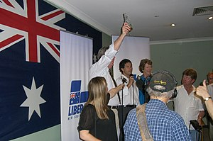 Barry O'Farrell - O'Farrell celebrates the 2008 Ryde by-election win with newly elected Liberal member for Ryde Victor Dominello and NSW deputy opposition leader Jillian Skinner.