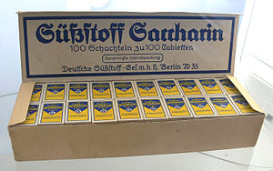 Saccharin - Saccharin, historical wrapping, Sugar Museum (Berlin)
