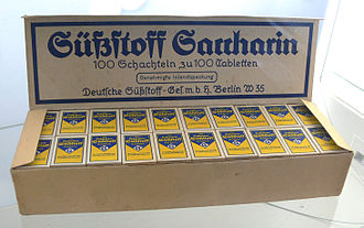 Sugar substitute - Saccharin, historical wrapping; Sugar Museum (Berlin)