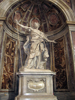 Holy Lance - The statue of St Longinus by Gianlorenzo Bernini sits above the relic in St Peter's Basilica
